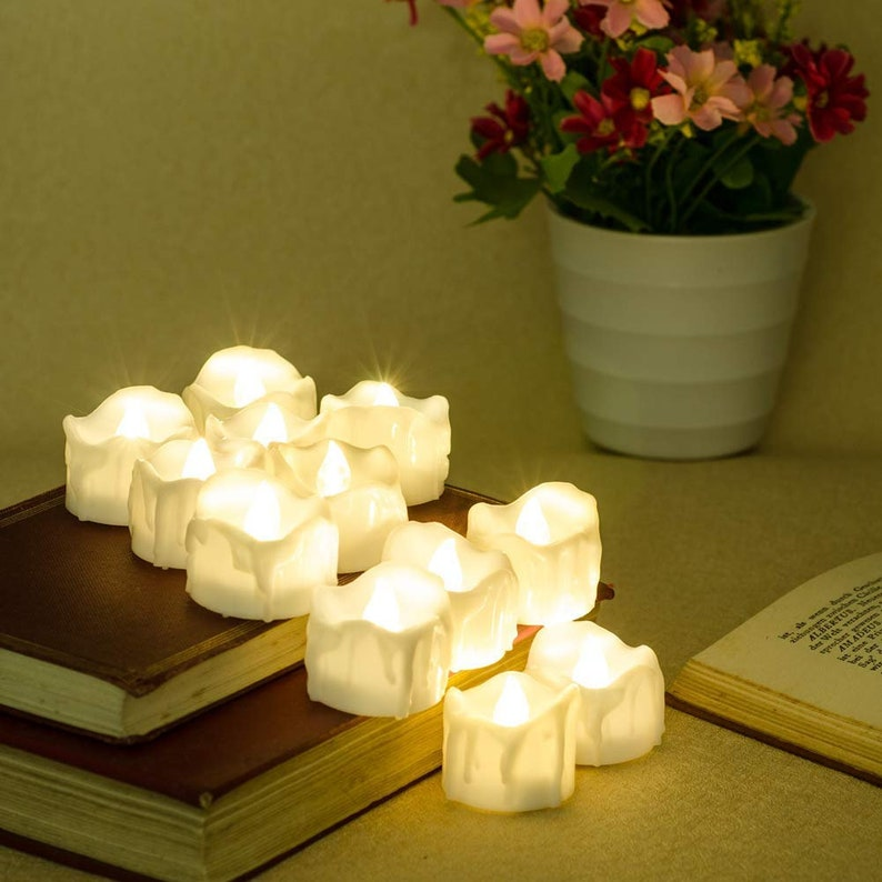 Led Votive Candles Timer Candle Favors Flameless Tea Lights Decorative Candle Set of 12 Realistic Led Candles