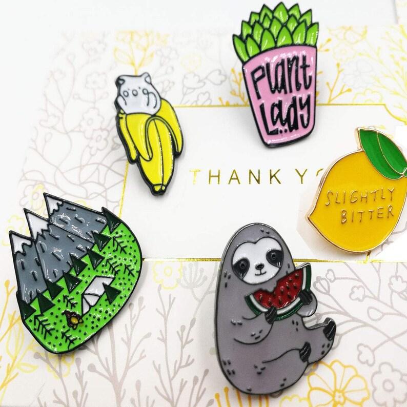 0640851730d5 Cute Enamel Pin Set, Funny Lapel Pins Badge, Mountain Pin, Hard Enamel Pin  Badge