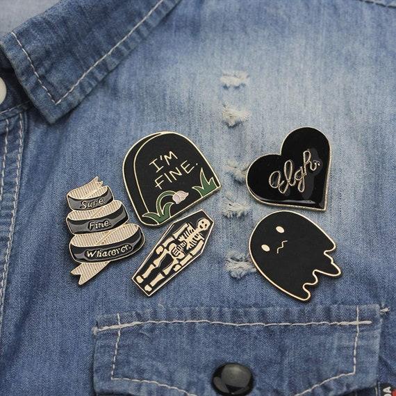 Spooky Enamel Pin Set, Funny Cartoon Lapel Pins, Brooch Lovers Geek Gift