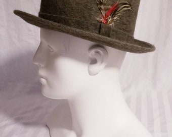 f2ba93b1a7d Mallory Stetson Gray Wool Fedora Hat with Feather Detail