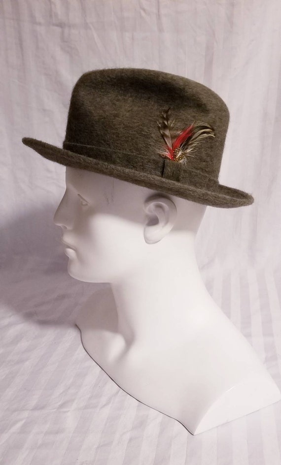 Mallory Stetson Gray Wool Fedora Hat with Feather Detail 95a29dbbcd6