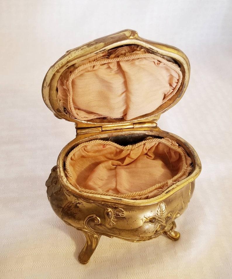 Gold Gilt Victorian Art Nouveau Jewelry Casket