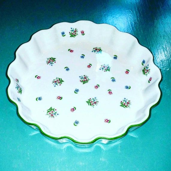 Vintage Pie Plate Andrea By Sadek Petite Fleur Oven To Table Fluted Bakeware Quiche Tart Pie 9