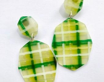Large rainbow candy geometric dangles  Small geo drop earrings  rainbow lasercut acrylic earrings  statement earrings