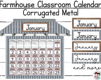 Farmhouse Classroom Calendar, Editable Printable Calendar, Farmhouse Classroom Décor, Google Slides, Educational Posters