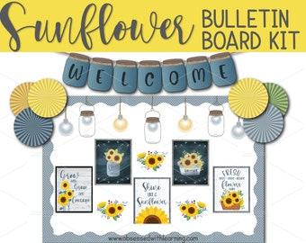 Sunflower Bulletin Board, Farmhouse Classroom Bulletin Board, Bulletin Board Décor, Educational Posters