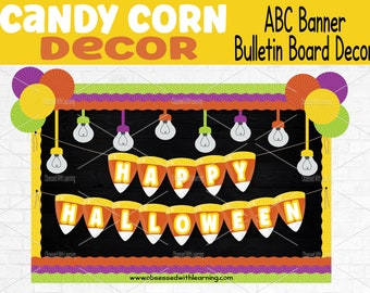 Happy Halloween Banner, Trick or Treat, Candy Corn Décor, Candy Corn Garland, Bulletin Board Letters, Classroom Decoration, ABC Banner