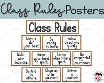 Class Rules, EDITABLE, Classroom Posters, Classroom Printables, Bulletin Board Set, Farmhouse Classroom Décor, Educational Posters