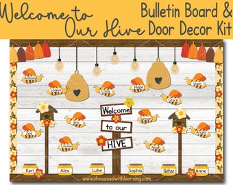 Welcome to our Hive Bulletin Board, Editable Name Tags, Classroom Door Décor, Bulletin Board Border, Classroom Decoration, Classroom Posters