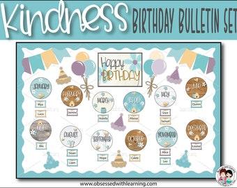 Classroom Birthdays, Birthday Bulletin Board, Kindness Bulletin Board, Farmhouse Classroom Décor, Classroom Posters
