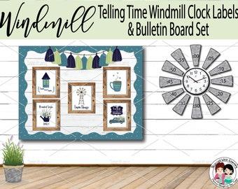 Farmhouse Classroom Décor, Farmhouse Décor Printable Clock Labels, Bulletin Board Décor, Telling Time Manipulatives, Classroom Labels