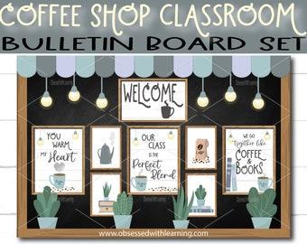 Coffee Shop Classroom Bulletin Board, Farmhouse Classroom Décor, EDITABLE Name Tags, Bulletin Board Border