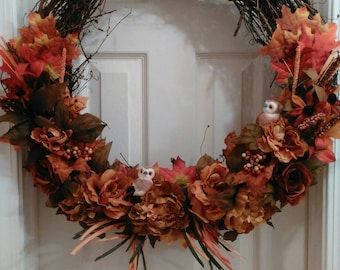 Beautiful Fall Wreath with Owls