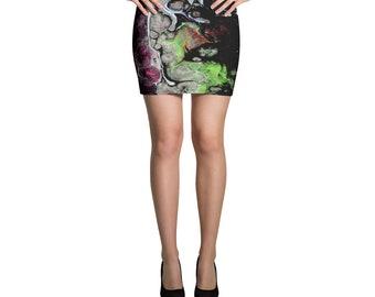 Black Splash of Color Mini Skirt