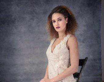 Brocade Bridal Gown, Brocade Wedding Dress, Sheath Wedding Dress, Pink Bronze Wedding Dress, Nontraditional One of a Kind, Floral Embellish