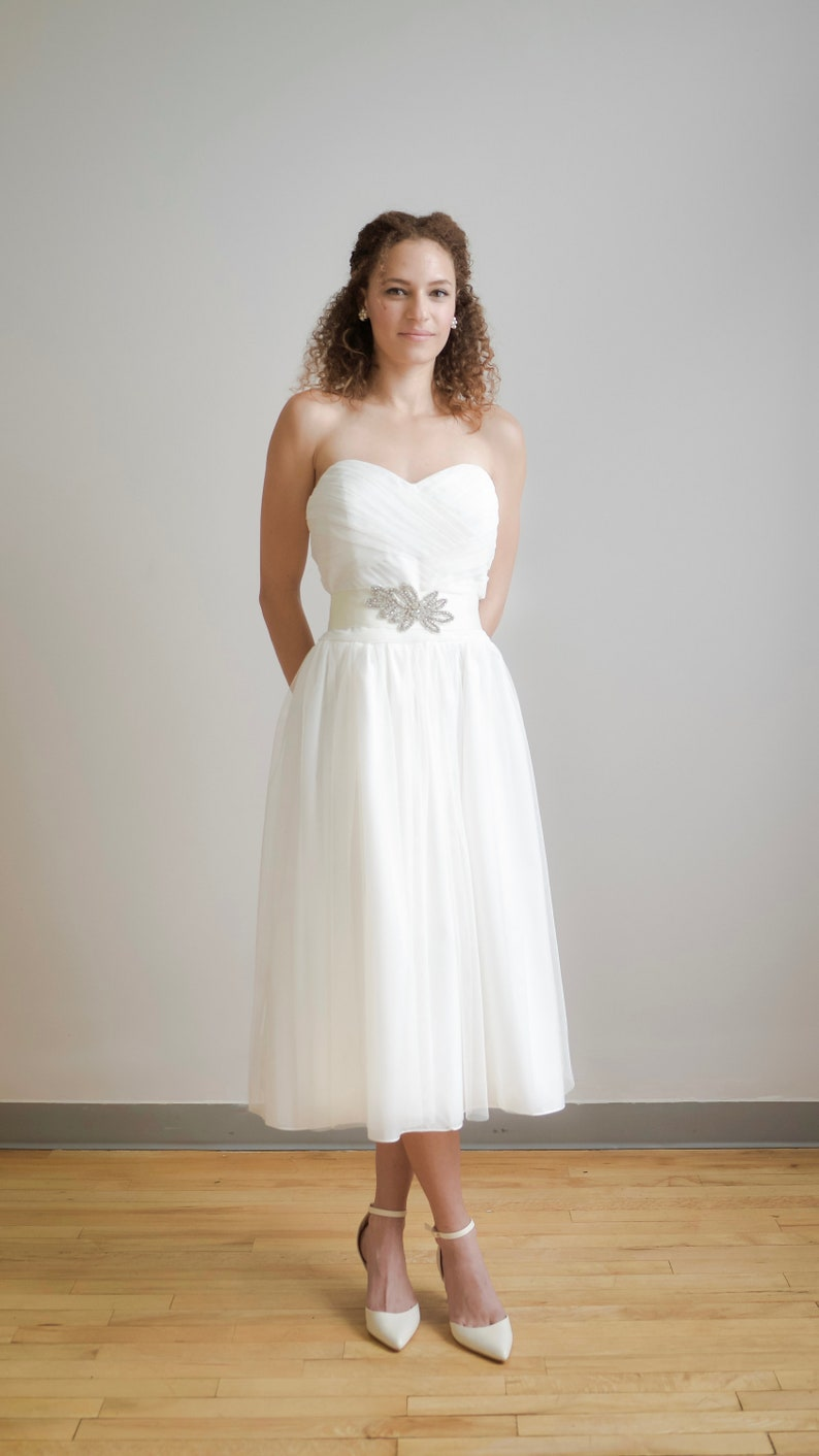Ruched Ivory Tulle Tea Length Heart Shaped Bodice Bridal Gown Etsy