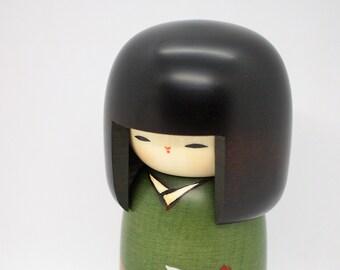 Japanese Creative Wooden Doll Kokeshi by Usaburo 15cm village of camellia
