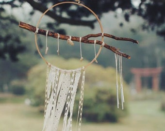 The Seaside Dream Catcher: Handmade, Vintage Lace, Tree Branch, Sea Stones, Wind Chimes, Magic, Boho, Gypsy, Witchy, Wedding