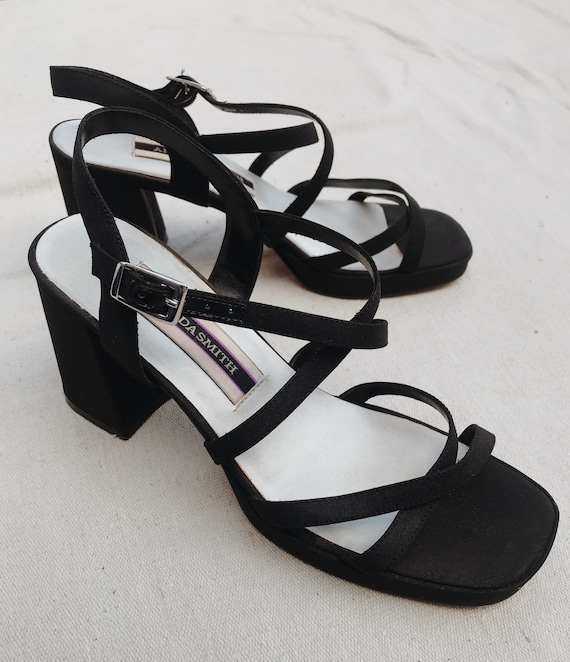 Vintage Nineties Strappy Black Shoes Chunky Block