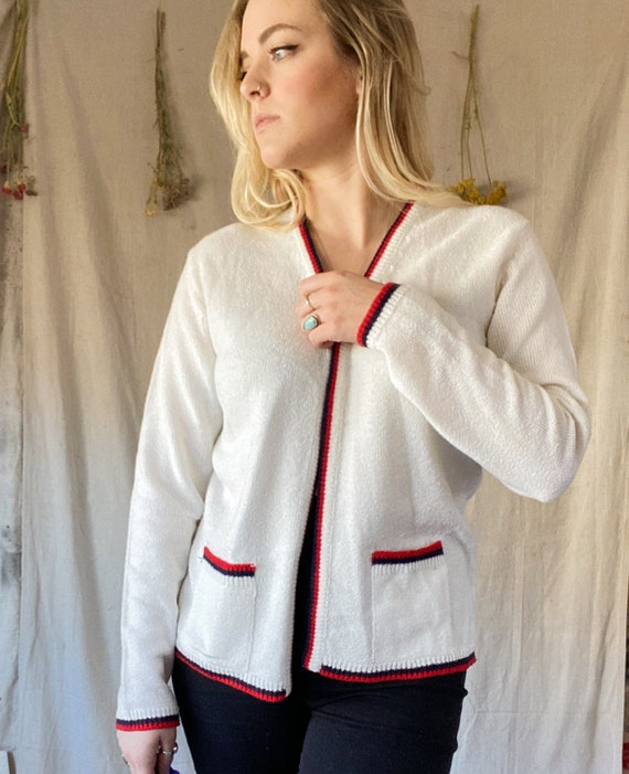 50s Red Knit Acrylic Long Sleeve Sweater Top Vintage 1950s Cardigan xssmall