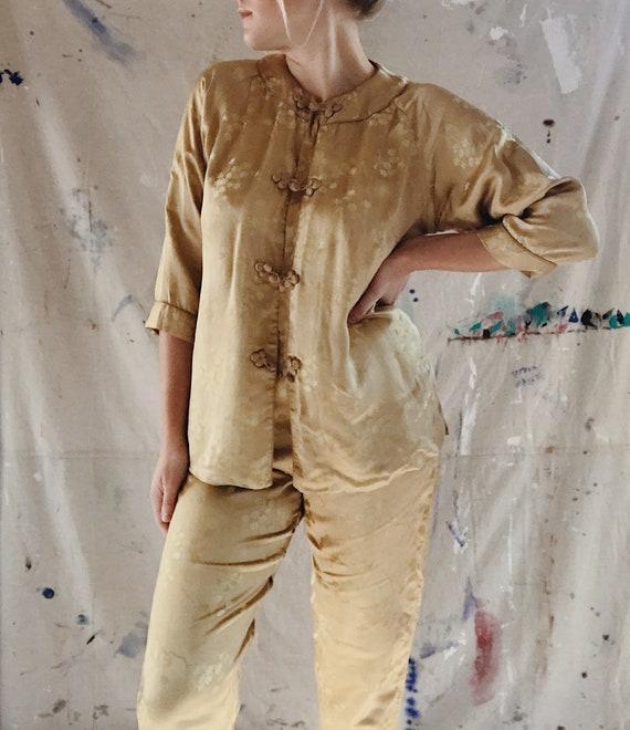 Vintage Japanese Jacquard Gold Pajama Set 1950's L
