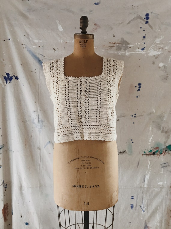 Vintage Hand Crocheted Tank Top Cream / Natural 19