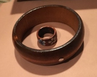 Wooden Bangle Bracelet + Ring