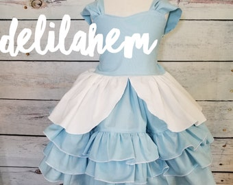 Cinderella inspired Blue Ruffle Dress Classic Ruffles Ruffled 6-12m 12-18m 18-24m 2T 3T 4T 5T 6 7 8