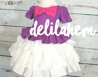 Fab Five Daisy Duck inspired Ruffle Dress Classic Ruffles Ruffled 6-12m 12-18m 18-24m 2T 3T 4T 5T 6 7 8