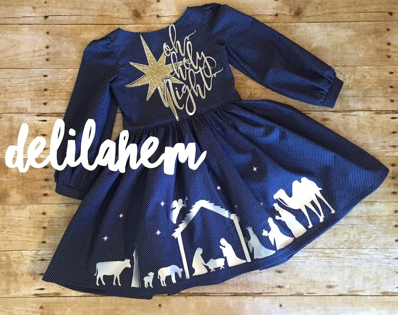 bd89a0deed8b Oh Holy Night girl baby Dress outfit 2T 3T 4T 5T 6 7 8 10 12