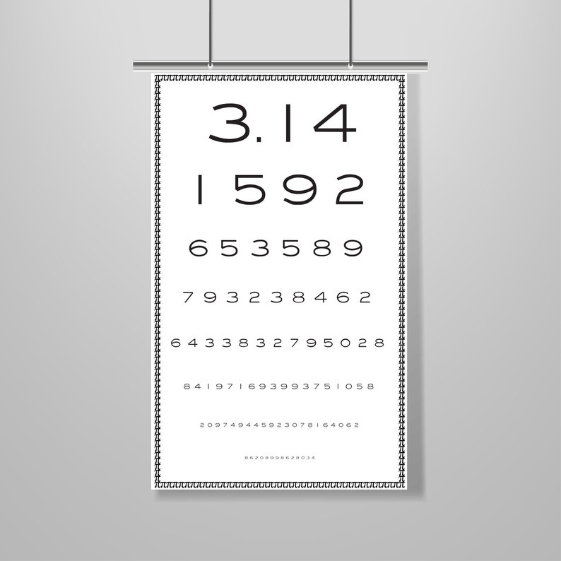 image about Printable Eye Charts called Pi \