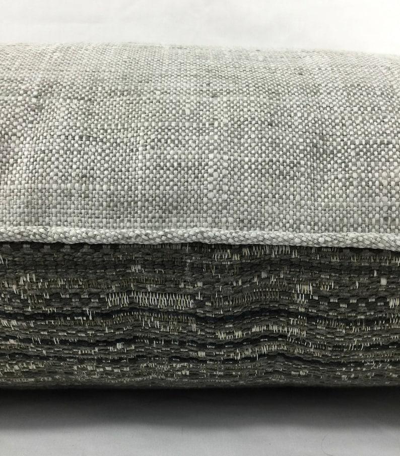 Gray Tweed Sham Tan Linen Contrast Back Designer Throw Pillow Mid Century Modern 16 x 26 High End Gray Tweed Designer Pillow Cover