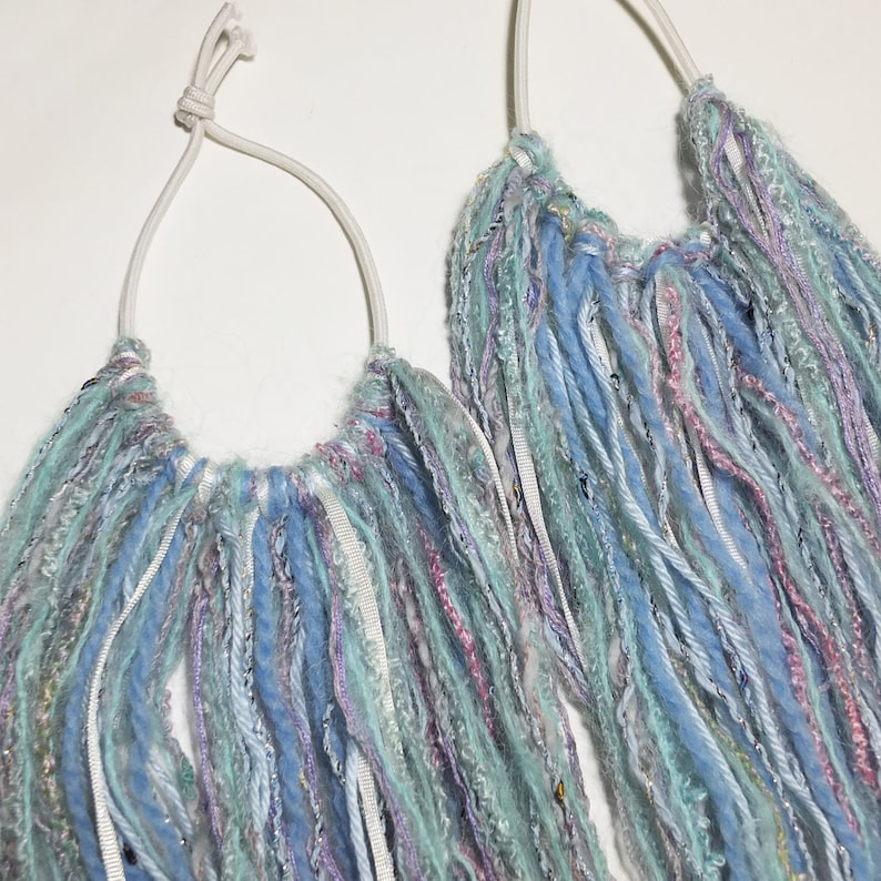 Hair Falls Ice Blue Lavender White Winter for Club Rave Party Costume 28 long 1 pair