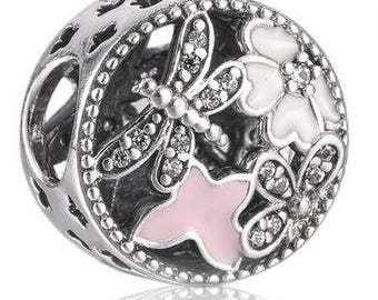 004a1d7e4 ... greece genuine sterling silver charm spring time pink enamel cz bead  charm fits european and pandora ...