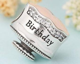 960495868 Genuine Sterling Silver Charm - Happy Birthday Cake - Pink Enamel CZ Bead  Charm - Fits European and Pandora Charm Bracelet