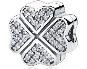 bee755742 Genuine Sterling Silver Charm - Crystal Petals of Love - CZ Clip Bead Charm  - Fits European and Pandora Charm Bracelet