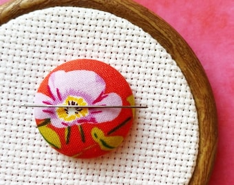 Cross Stitch Magnetic Needle Minder, Sewing Notion, Hand Embroidery, Needle Keeper, Heather Ross Briar Rose Fabric, Stitching Accessory