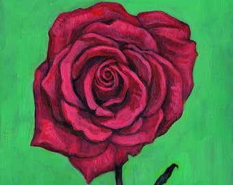 Original Still Life Painting - Acrylic on Board - Red Rose - Valentine's Gift