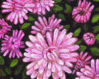 Original Acrylic Painting - Pink Dahlias - Valentine's Gift