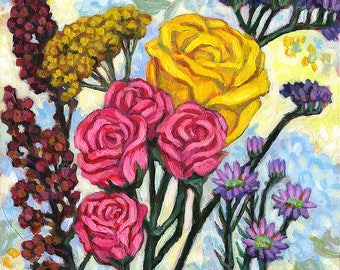 Original Still Life Painting - Acrylic on Board - Pink and Yellow Roses - Valentine's Gift