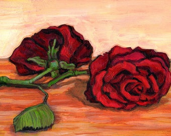 Original Still Life Painting - Acrylic on Board - Red Roses - Valentine's Gift