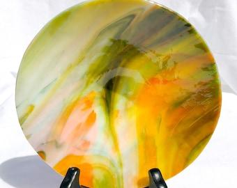 Vineyard explosion fused glass bowl - art glass, kiln glass, serving bowl, glass art, fused glass art, handmade bowl, for him, for her