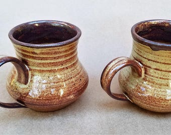Pair of stoneware mugs, Couples gift, Handmade coffee mugs