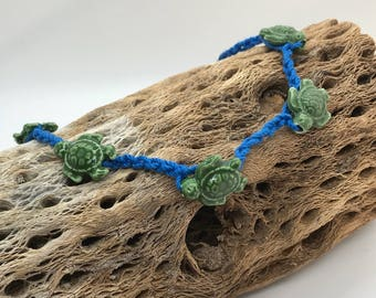 Turtle choker/ sea turtle with blue choker
