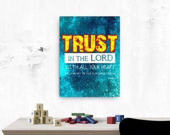 Proverbs 3: 5 Canvas; Scripture Art Gifts