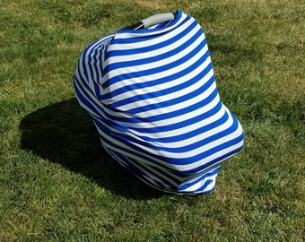Blue and White Stripe || Stretchy 4 in 1 Baby Car Seat Cover || Nursing Cover