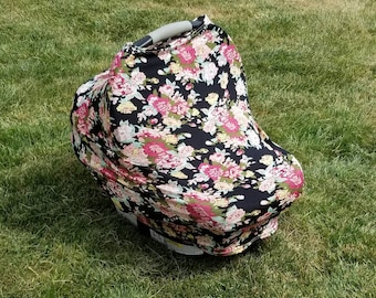 Black Floral || Stretchy 4 in 1 Baby Car Seat Cover || Nursing Cover