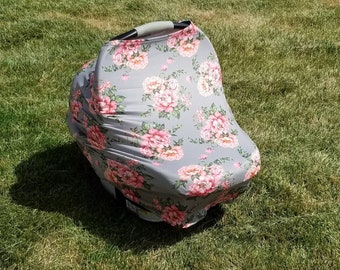 Gray Floral || Stretchy 4 in 1 Baby Car Seat Cover || Nursing Cover