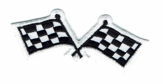 "3/"" Checkered Racing Flags Biker Formula Nascar Embroidered Iron on Patch"