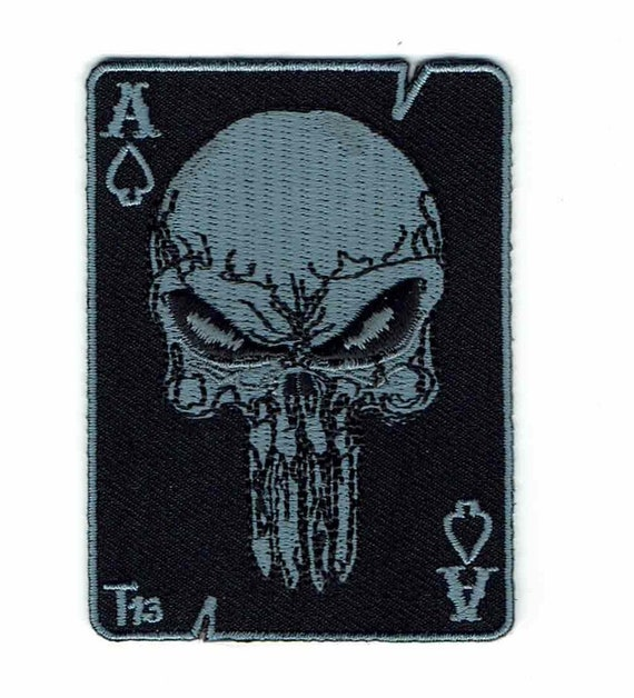 Ace Of Spades Skull Bones Death Card Embroidered Military Biker Iron On Patch